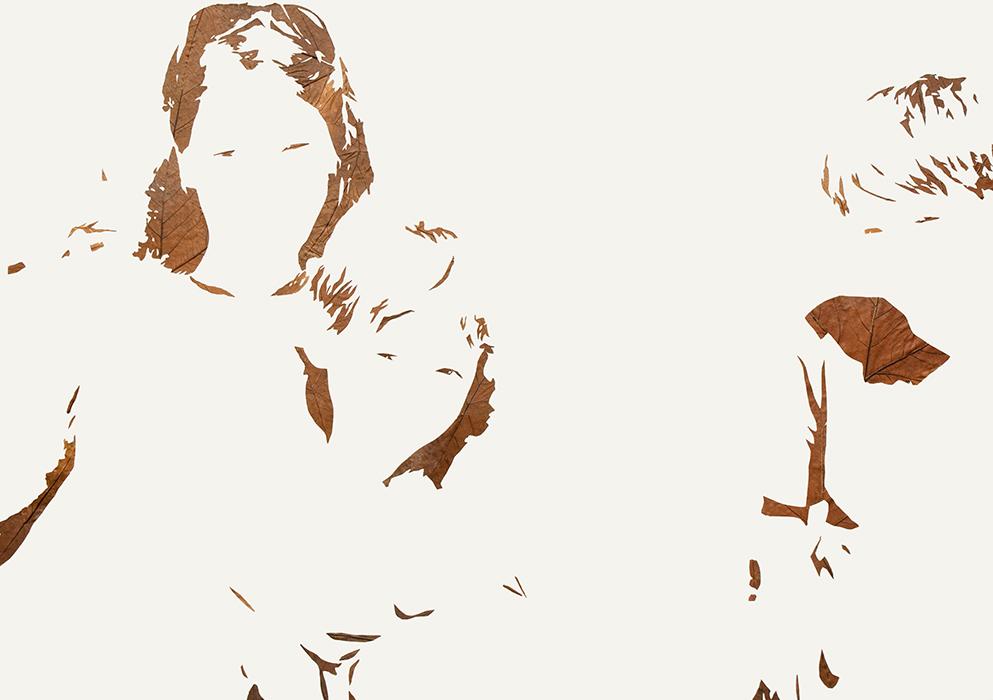 Gruppenbild mit Dame | Laub auf Papier | 2016 | 86 x 122 cm