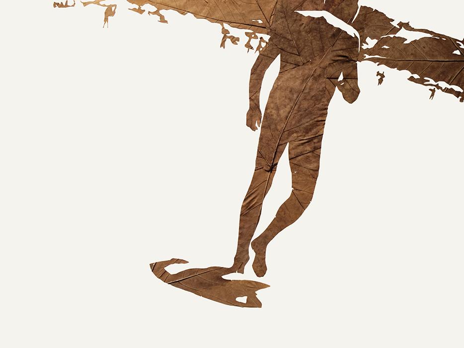 Strandfigur | Laub auf Papier | 2015 | 60 x 80 cm