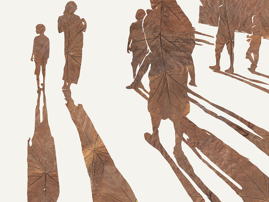 Immer der Sonne entgegen | Laub auf Papier | 2015 | 60 x 80 cm