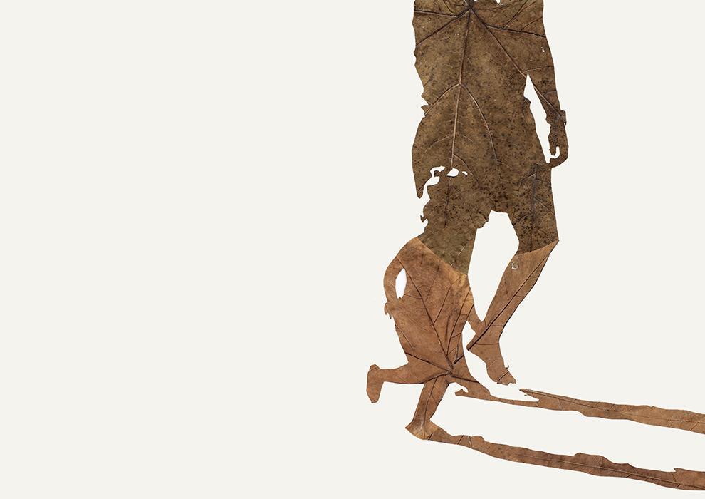 Schattenspieler I | Laub auf Papier | 2015 | 42 x 59,4 cm