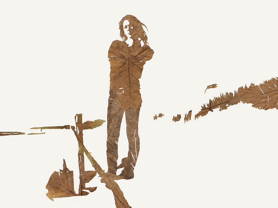 Kleine Flucht | Laub auf Papier | 2015 | 60 x 80 cm