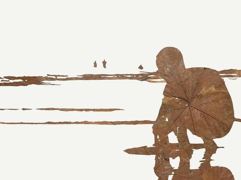 Sandkönig | Laub auf Papier | 2013 | 60 x 80 cm
