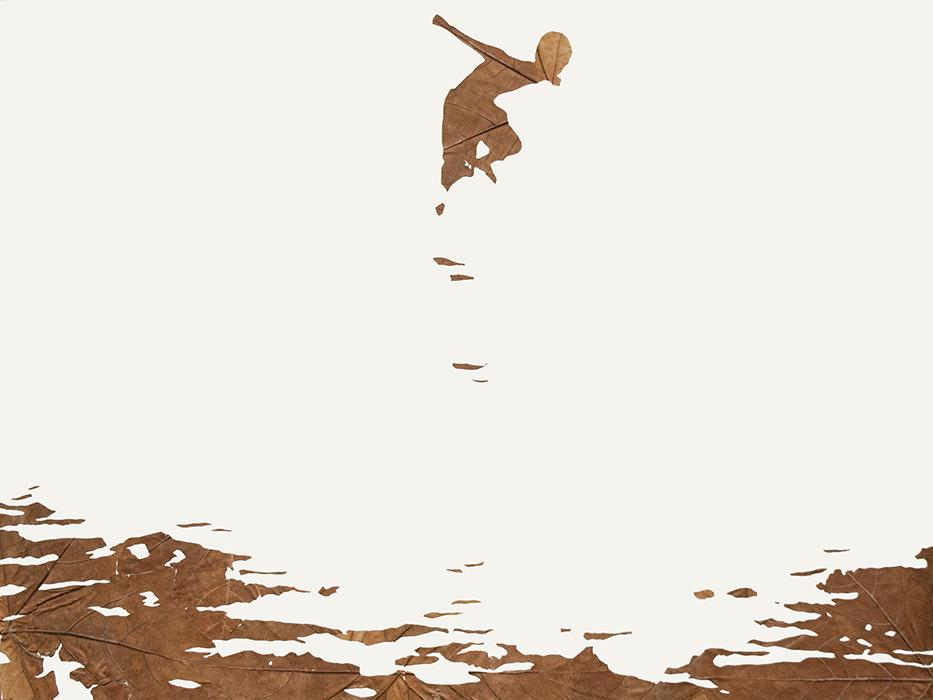 Wellenrausch | Laub auf Papier | 2013 | 60 x 80 cm