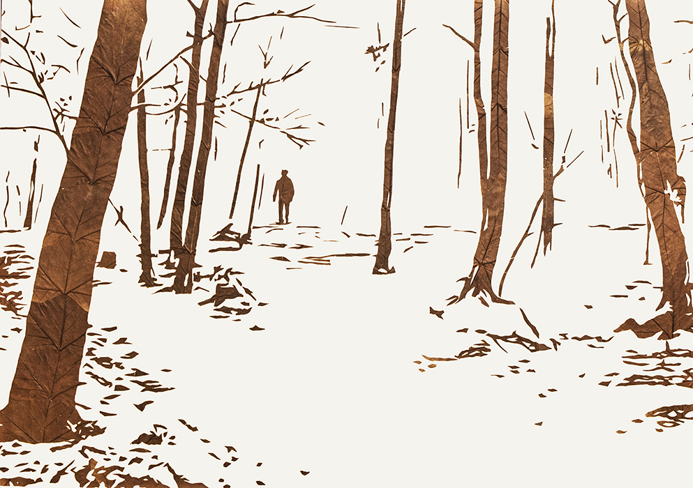 Lichtbild 2012-01 | 2018 | Laub auf Papier | 86x122 cm