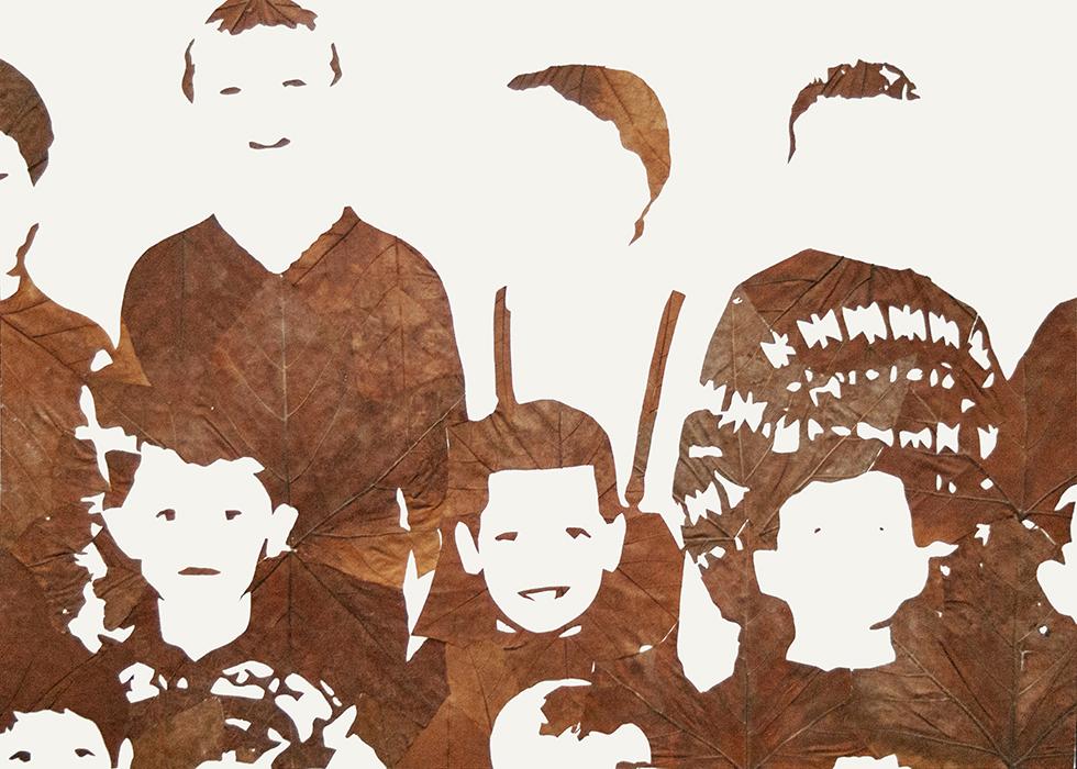 Lichtbild 1968-02 | 2015 | Laub auf Papier | 140x200 cm | Ausschnitt